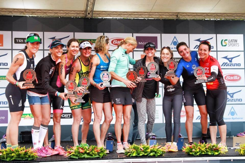 group of woman with trophies