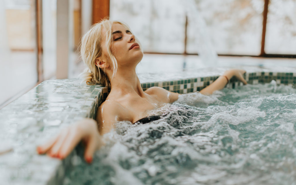 Woman enjoying Hydrotherapy